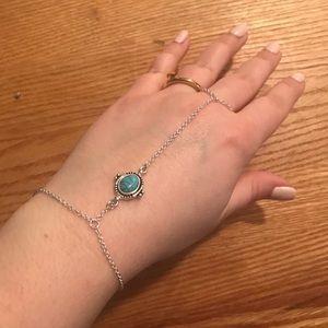 World Market Boho silver turquoise bracelet ring